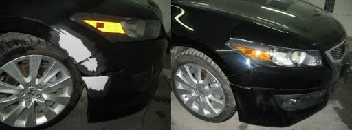 Фото пример до и после локальной покраски двери