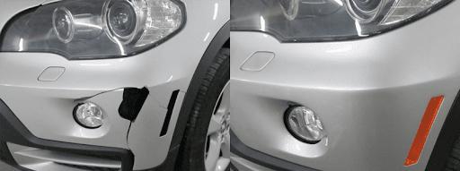 Фото примера до и после ремонта пролома бампера в«АвтосервисПрофи»