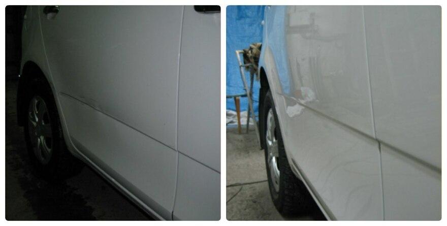 Фото до и после локального ремонта крыла в «АвтосервисПрофи» Красноярск