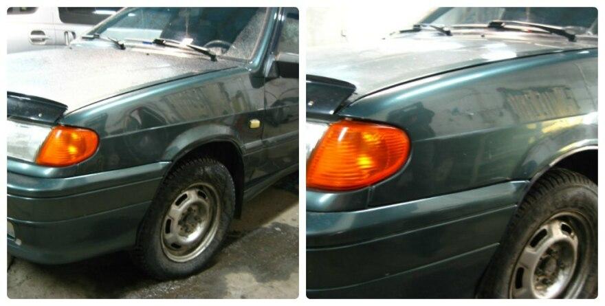 Фото до и после удаления вмятины крыла